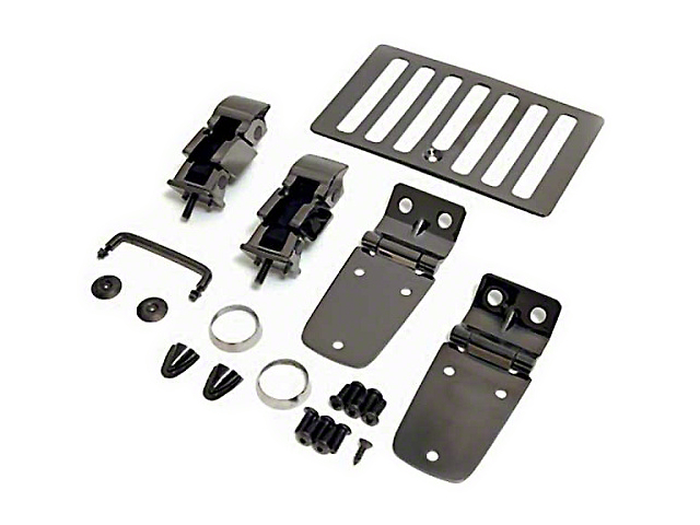 Rugged Ridge Hood Dress Up Kit - Black Chrome (98-06 Jeep Wrangler TJ)