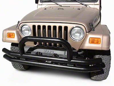 Rugged Ridge Tubular Front Bumper w/ Hoop - Gloss Black (87-06 Wrangler YJ & TJ)