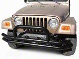 Rugged Ridge Tubular Front Bumper w/ Hoop - Gloss Black (87-06 Jeep Wrangler YJ & TJ)