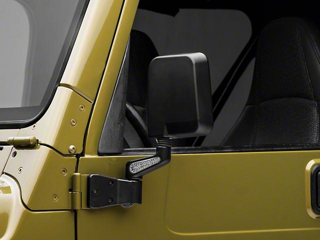 Rugged Ridge Door Mirrors with LED Turn Signals; Black (87-02 Jeep Wrangler YJ & TJ)