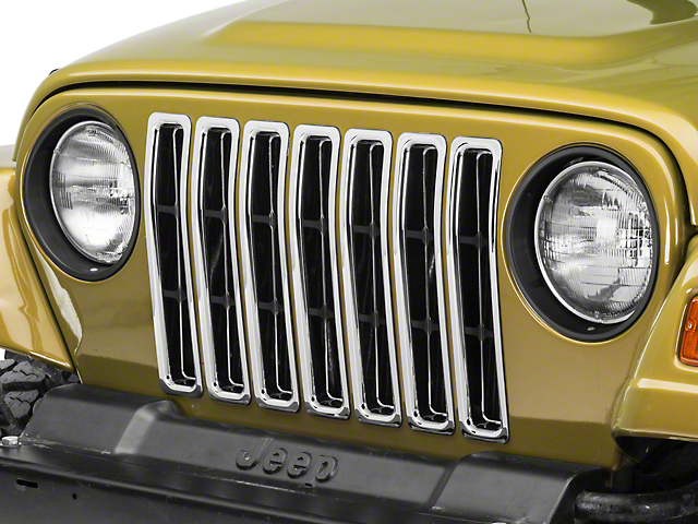 Rugged Ridge Grille Inserts; Chrome (97-06 Jeep Wrangler TJ)