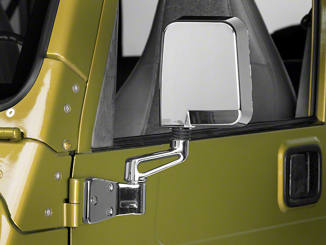 Rugged Ridge Door Mirror; Driver Side; Chrome (87-02 Jeep Wrangler YJ & TJ)