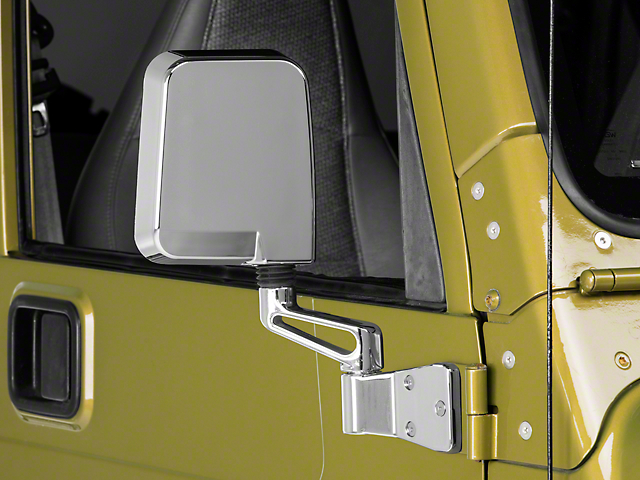 Rugged Ridge Door Mirror; Passenger Side; Chrome (87-02 Jeep Wrangler YJ & TJ)