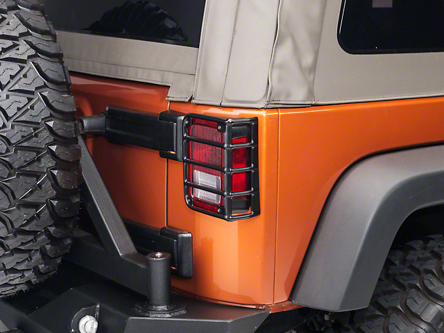 Rugged Ridge Euro Tail Light Guards Black 07 18 Wrangler Jk