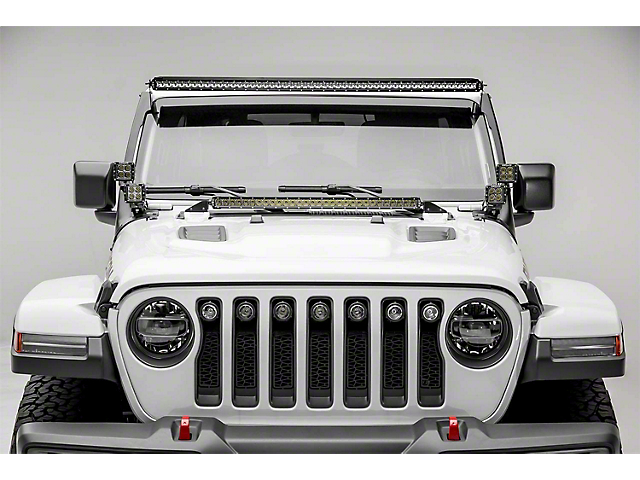 ZRoadz 50-Inch LED Light Bar and Four 3-Inch LED Pod Lights with Roof Mounting Brackets (20-21 Jeep Gladiator JT)