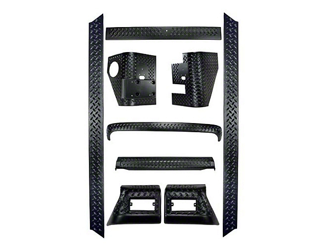Rugged Ridge Full 9 Piece Body Armor Kit Diamond Textured Black Plastic w/ Bushwacker Rear Flare (97-06 Jeep Wrangler TJ)