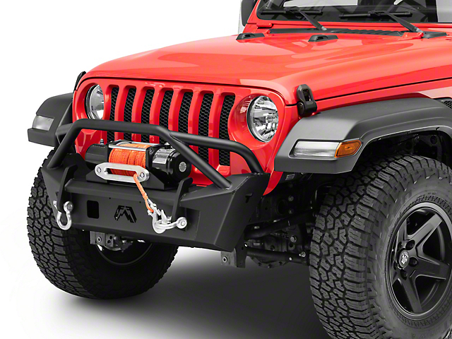 Fab Fours Stubby Front Bumper with Pre-Runner Guard; Matte Black (18-21 Jeep Wrangler JL)