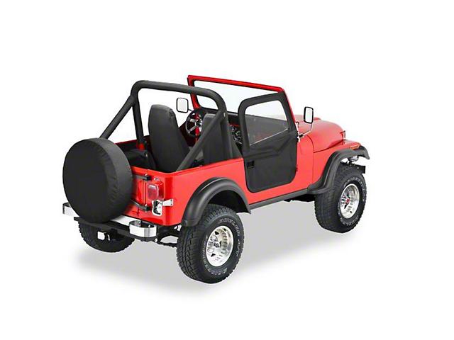 Bestop 2-Piece Full Fabric Doors; Black Crush (76-86 Jeep CJ7)