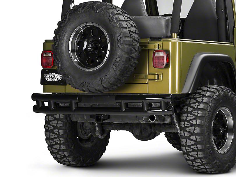 Rugged Ridge Tubular Rear Bumper w/ Hitch - Gloss Black (87-06 Jeep Wrangler YJ & TJ)