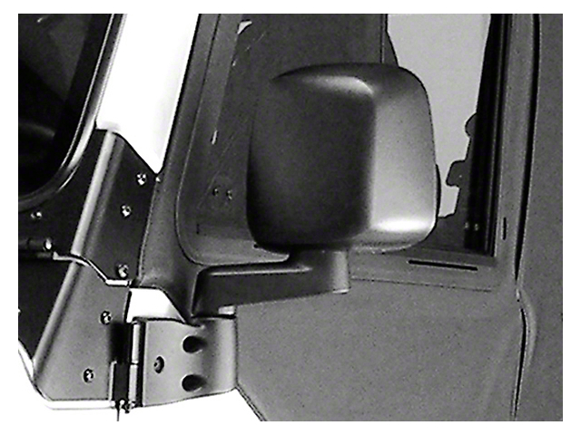 Rugged Ridge Door Mirror; Driver Side; Black (87-06 Jeep Wrangler YJ & TJ)
