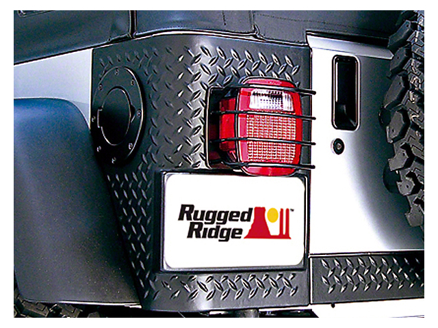 Rugged Ridge Rear Euro Tail Light Guards - Black (87-06 Jeep Wrangler YJ & TJ)