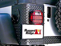 Rugged Ridge Euro Tail Light Guards; Black (87-06 Jeep Wrangler YJ & TJ)