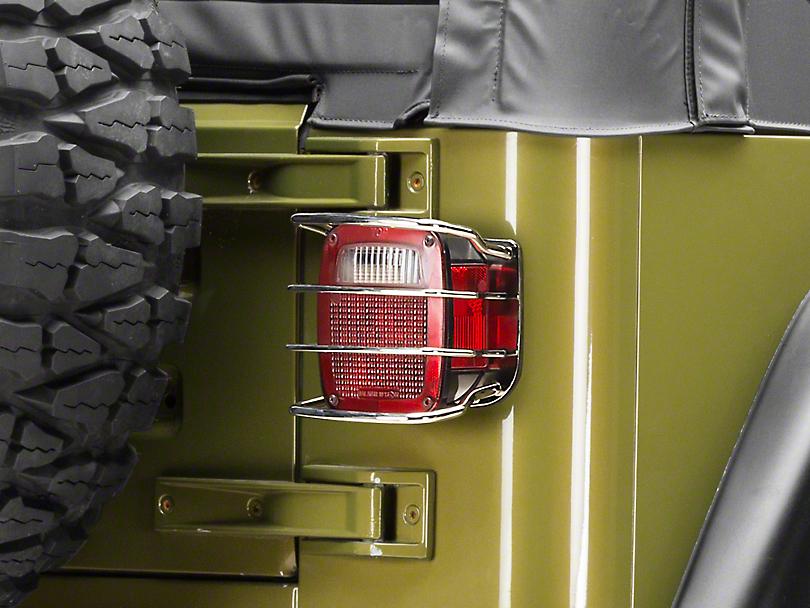 Rugged Ridge Rear Euro Tail Light Guards - Stainless Steel (87-06 Jeep Wrangler YJ & TJ)