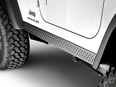 Rugged Ridge Rocker Side Panel Pair - Diamond Textured Black Plastic (97-06 Wrangler TJ)