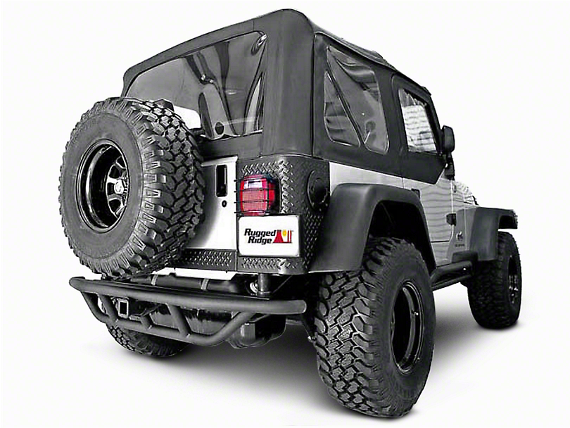 Rugged Ridge RRC Rear Bumper w/o Tire Carrier - Textured Black (87-06 Wrangler YJ & TJ)