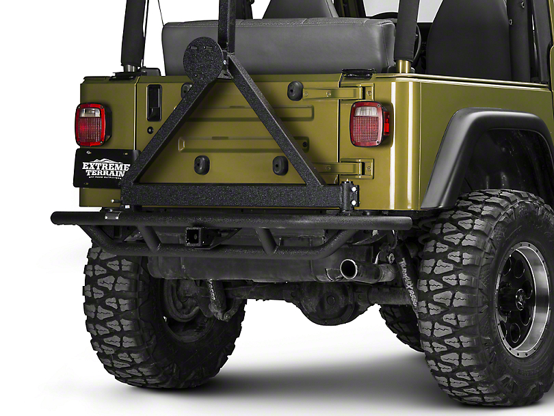 Rugged Ridge RRC Rear Bumper w/ Tire Carrier - Textured Black (87-06 Wrangler YJ & TJ)