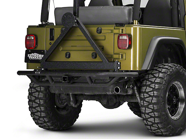 Rugged Ridge RRC Rear Bumper w/ Tire Carrier - Textured Black (87-06 Jeep Wrangler YJ & TJ)