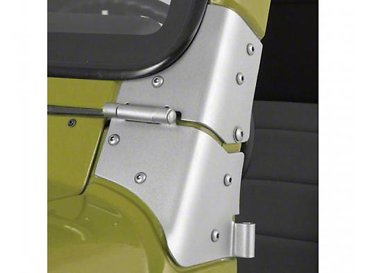 Rugged Ridge Windshield Hinge Brackets - Satin Stainless Steel (97-06 Jeep Wrangler TJ)