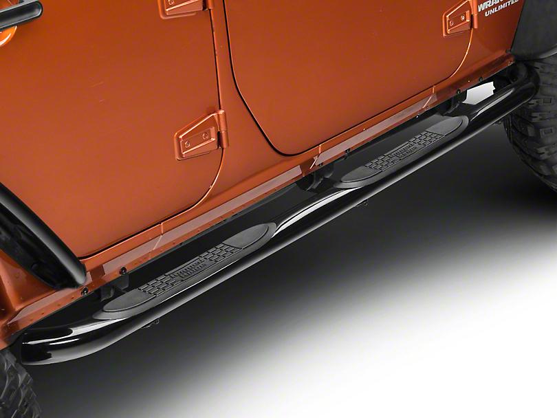 Rugged Ridge Side Step Bars - Gloss Black (07-18 Jeep Wrangler JK 4 Door)