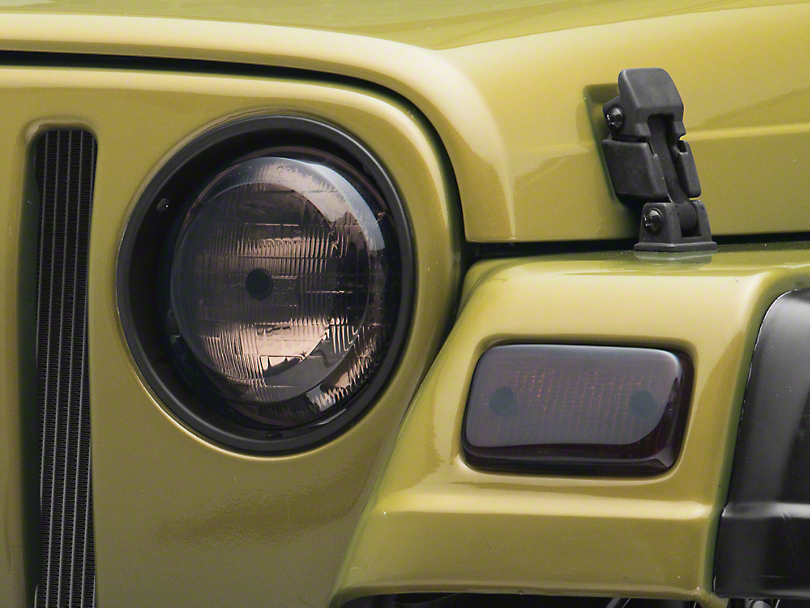 Rugged Ridge Plastic Molded Headlights & Park Lamp Covers - Smoke (97-06 Jeep Wrangler TJ)