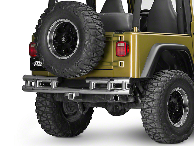 Rugged Ridge Tubular Rear Bumper; Stainless Steel (87-06 Jeep Wrangler YJ & TJ)