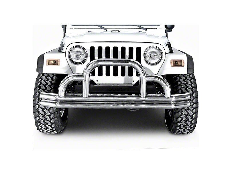 Rugged Ridge Tubular Front Bumper w/ Defender Hoop - Stainless Steel (87-06 Jeep Wrangler YJ & TJ)