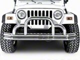 Rugged Ridge Front Defender Bumper; Stainless Steel (87-06 Jeep Wrangler YJ & TJ)
