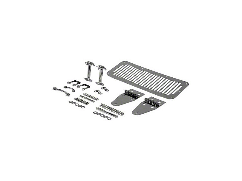 Rugged Ridge Complete Hood Set - Stainless Steel (87-95 Jeep Wrangler YJ)