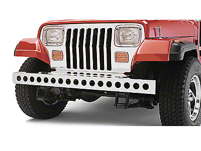 Rugged Ridge Front Bumper w/ Holes - Stainless Steel (87-95 Jeep Wrangler YJ)