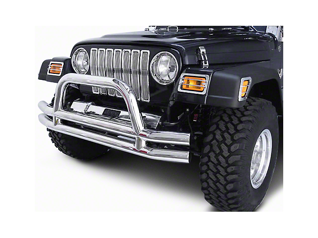 Rugged Ridge 3-Inch Double Tube Front Bumper; Stainless Steel (87-06 Jeep Wrangler YJ & TJ)