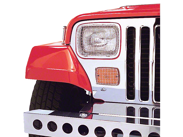 Rugged Ridge Stainless Steel Stone Guard Set for Lights (87-95 Jeep Wrangler YJ)