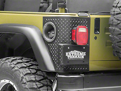 Rugged Ridge 2 Black Plastic Tall Corner Rear Body Armor (97-06 Wrangler TJ)