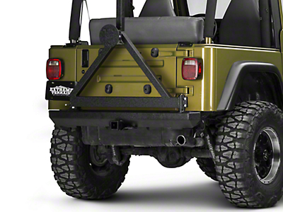 Rugged Ridge Classic Rock Crawler Rear Bumper w/ Tire Carrier - Textured Black (87-06 Wrangler YJ & TJ)