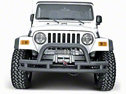Rugged Ridge Tubular Front Bumper w/ Winch Cutout - Textured Black (87-06 Jeep Wrangler YJ & TJ)