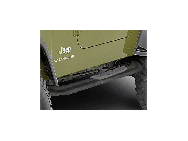 Rugged Ridge 3-Inch Round Nerf Side Step Bars; Textured Black (87-95 Jeep Wrangler YJ)