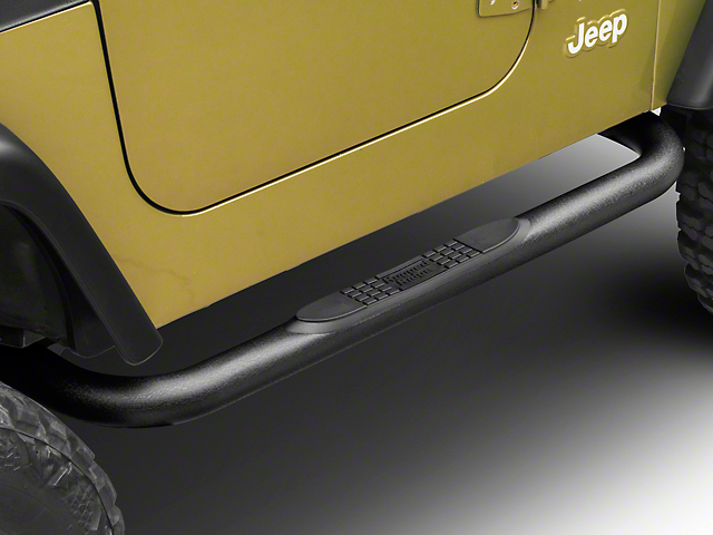 Rugged Ridge 3-Inch Round Nerf Side Step Bars; Textured Black (97-06 Jeep Wrangler TJ, Excluding Unlimited)