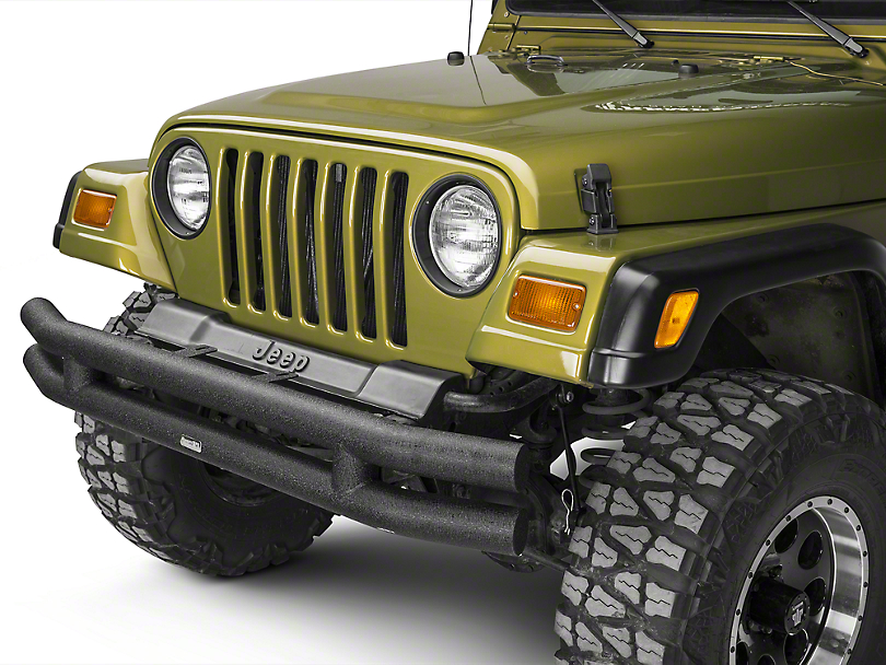 Rugged Ridge Tubular Front Bumper - Textured Black (87-06 Wrangler YJ & TJ)