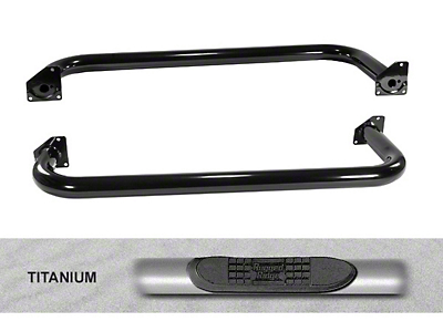 Rugged Ridge 3 in. Round Side Step Bars - Titanium (97-06 Jeep Wrangler TJ, Excluding Unlimited)