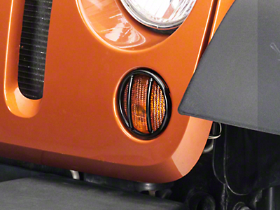 Rugged Ridge Euro Turn Signal Light Guards - Black (07-18 Jeep Wrangler JK)