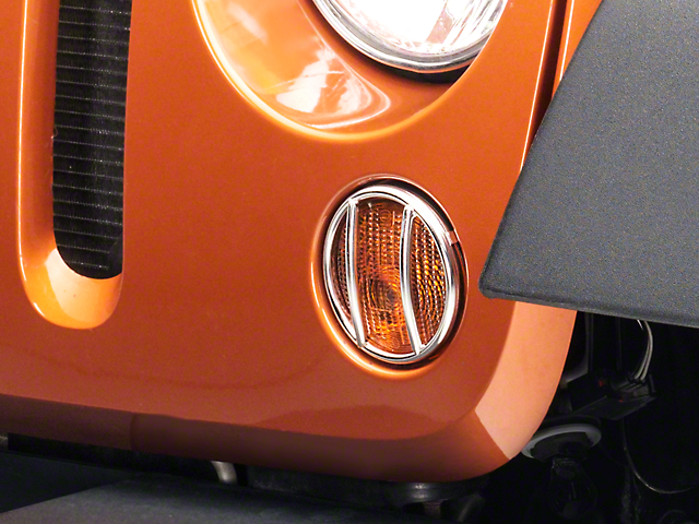 Rugged Ridge Euro Turn Signal Light Guards; Stainless Steel (07-18 Jeep Wrangler JK)