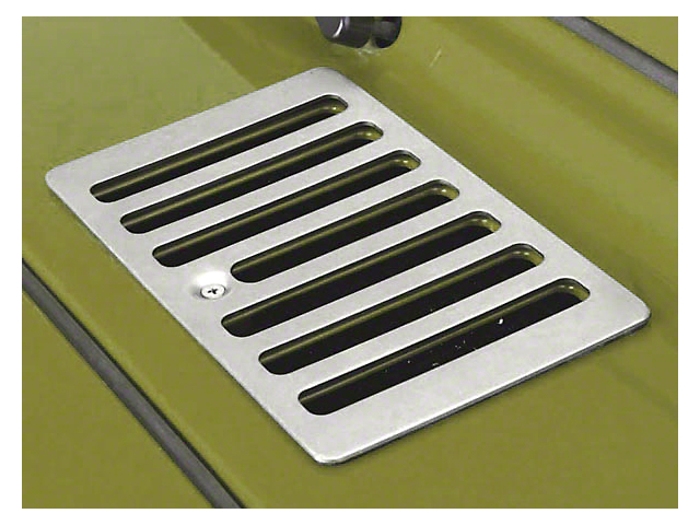 Rugged Ridge Cowl Vent Cover; Satin Stainless Steel (98-06 Jeep Wrangler TJ)