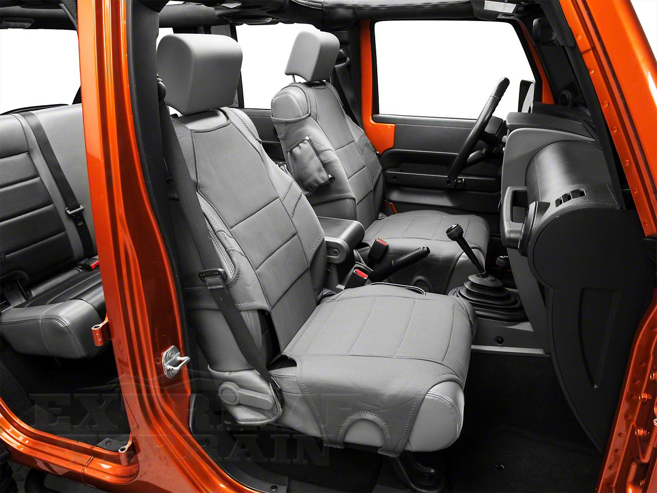 Rugged Ridge Neoprene Front Seat Protectors - Charcoal Gray (07-18 Jeep Wrangler JK; 2018 Jeep Wrangler JL)