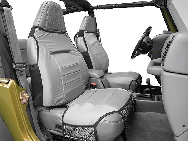 Rugged Ridge Fabric Front Seat Protectors; Gray (87-06 Jeep Wrangler YJ & TJ)