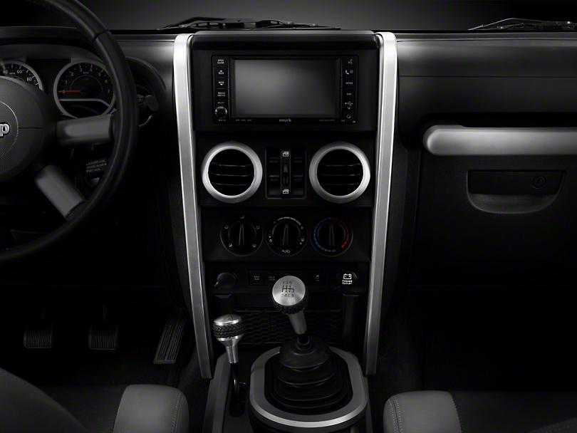 Rugged Ridge Silver Center Dash Accent - Pair (07-10 Jeep Wrangler JK)
