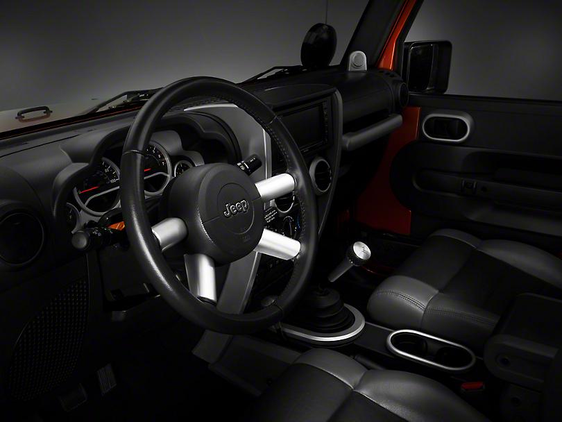 Rugged Ridge Silver Steering Wheel Spoke Trim (07-10 Jeep Wrangler JK)