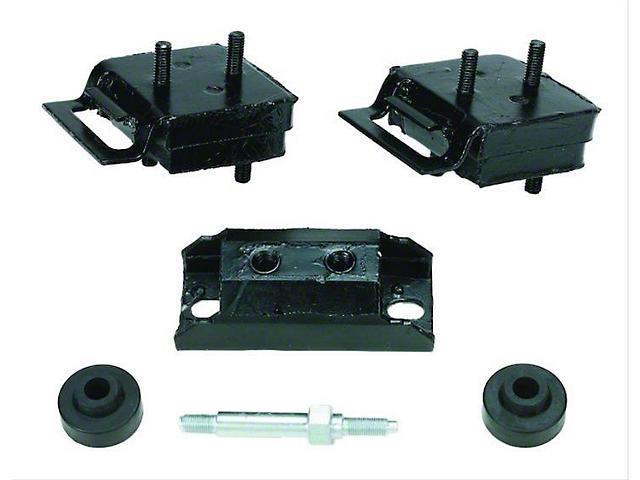 Engine and Transmission Mount Kit; with AMC V8 Engines (76-81 5.0L Jeep CJ7; 73-81 5.0L CJ5)