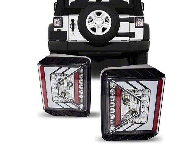 Renegade Series LED Tail Lights; Gloss Black Housing; Clear Lens (07-18 Jeep Wrangler JK)