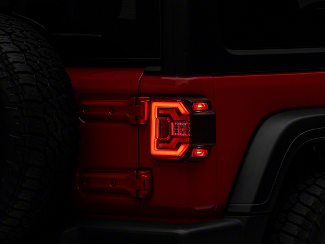 Renegade Series Sequential LED Tail Lights; Black Housing; Red Lens (18-21 Jeep Wrangler JL w/o Factory LED Tail Lights)