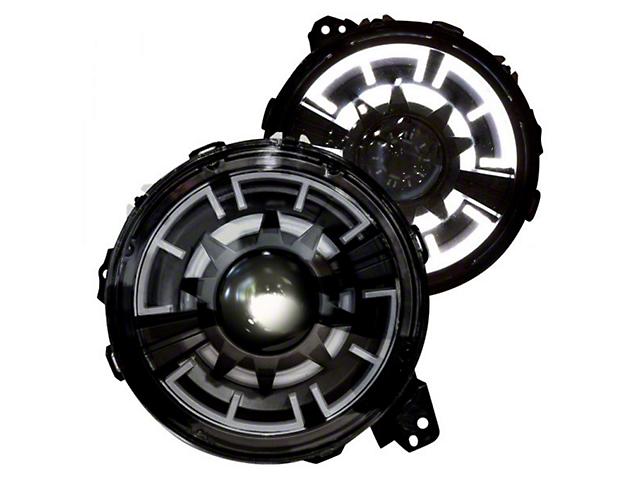 Renegade Series LED Headlights; Black Housing; Clear Lens (18-21 Jeep Wrangler JL)