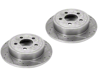 Alloy USA Slotted & Drilled Disc Brake Rotors - Front Pair (99-06 Jeep Wrangler TJ)
